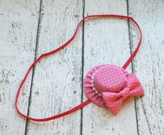 Baby Headband - Mini Hat Headband with Bow - Mini Hat Toddler Headband - Hot Pink Hat Hair Band for Baby - Gift for Baby - Baby Shower Gift by GhinesCreations on Etsy