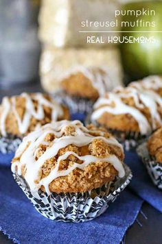 Loaded with pumpkin flavor & delicious glaze, these Pumpkin Streusel Muffins are the epitome of the perfect fall breakfast! #Realhousemoms #Pumpkin #Muffins #Breakfast