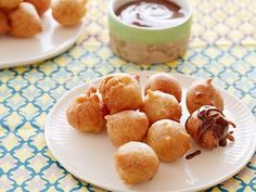 Peanut Butter Banana Fritters Drizzled with Chocolate Sauce