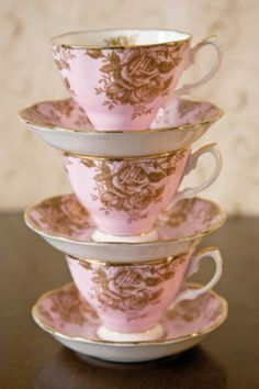 pink cups with roses