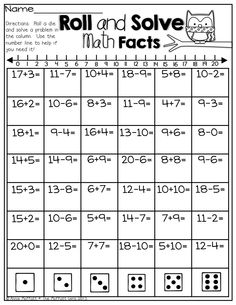 Roll and Solve Math Facts!  Roll the dice and solve a math fact in the column!  What a FUN and fast way to practice a lot of math facts!
