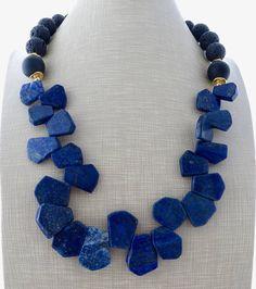 Blue lapis lazuli necklace chunky necklace bib necklace