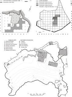 Fig. 4. Planos de los yacimientos en estudio. Arriba: Izq. Cova Rosa. Dcha. Cueto de la Mina. Abajo: Llonin.