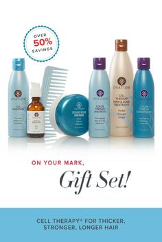 The Color Holiday Gift Set includes: 12oz Cell Therapy Hair & Scalp Treatment, 6oz Color Therapy Shampoo, 6oz Color Therapy Conditioner, 6oz Lux Shampoo, 4.3oz Intensive Repair Hair Mask, 2oz Essential Hair Oil AND a Wide Tooth Comb.