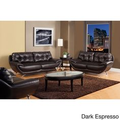 Furniture of America Volosi Leatherette 2-piece Sofa Set