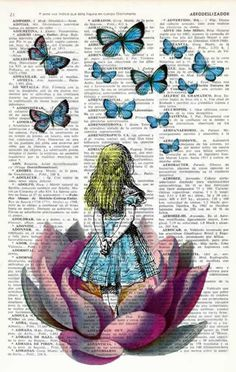 Alice in wonderland Alice in Prrintland Looking for a pink butterfly - Alice in Wonderland Collage Print on Vintage Dictionary Book art. Lots of Alice In Wonderland Prints Art Disney, Disney Kunst, Adventures In Wonderland, Wonderland Alice, Alice In Wonderland Drawings, Wonderland Party, Alice In Wonderland Tattoo Sleeve, Alice In Wonderland Pictures, Pink Butterfly