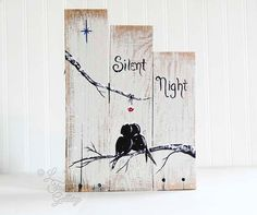 Silent Night Sign Holiday Sign Wood Christmas Sign Wedding Gift for Couple…