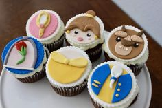 12 Beauty and The Beast Fondant Cupcake Toppers. by NerdBytes Fondant Cupcakes, Frozen Fondant, Girl Cupcakes, Fondant Toppers, Yummy Cupcakes, Cupcake Cakes, Valentine Cupcakes, Cake Cookies, Beauty And The Beast Cupcakes