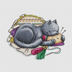 Cross stitch pattern and designs by MaxStitch Cross Stitch Needles, Beaded Cross Stitch, Cross Stitch Embroidery, Embroidery Floss Storage, Cat Calendar, Maya, Modern Cross Stitch Patterns, Grey Cats, Digital Pattern