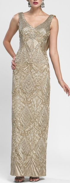 Sleeveless v neck evening dress with cowl back by Sue Wong