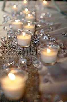 DIY candle centerpieces | faux diamond runner with votive candles,