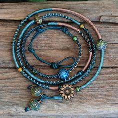 Beaded Leather Wrap Mood Bracelet Macrame Woven by PJsPrettys