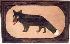 Antique Fox Hooked Rug