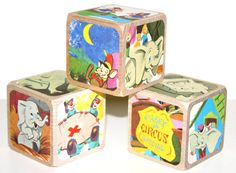Dumbo Children's Wooden Baby Blocks  Baby Shower by Booksonblocks, $17.00