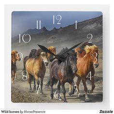 Wild horses square wall clock Wild Horses, Wall Clocks, Diy Face Mask, Hand Coloring, Dog Design, Party Hats, Funny Cute, Dog Cat, Kids Shop