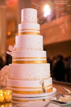 Gold And White Wedding Cake By For Goodness Cakes