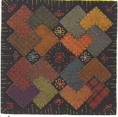 Primitive Folk Art Wool Applique Pattern:  WOOL CARD TRICKS