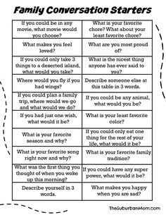 Pin by jacque armstrong on family fun conversation starters, parenting, con Kids And Parenting, Parenting Hacks, Parenting Articles, Foster Parenting, Education Positive, Physical Education, Therapy Tools, Family Night, Family Meeting