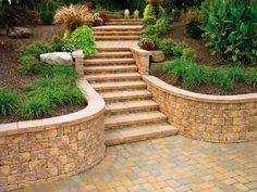 Retaining Wall Stairs Retaining Wall With Stone Steps