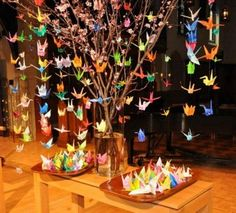 Ideas creativas con grullas de origami.