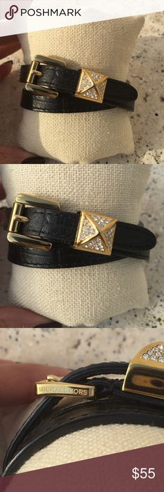 Michael Kors Black Double Wrap Pyramid Bracelet Michael Kors Croc Embossed Black Leather and gold tone pave pyramid wrap bracelet. In excellent condition. Michael Kors Jewelry Bracelets