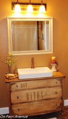You'll be amazed at how this Hometalker transformed her old dresser into this gorgeous bathroom vanity!