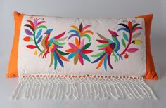 Items similar to Handcrafted pillow combines finely designed embroidered rebozo wiith rich colorful canvas. on Etsy Mexican Embroidery, Crewel Embroidery, Hand Embroidery Designs, Embroidery Patterns, Fabric Painting, Cross Stitching, Needlework, Crafty, Pillows