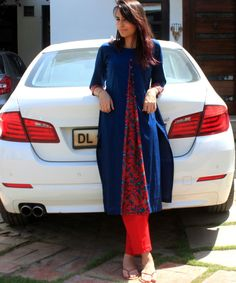 Blue Front Printed Pleat Kurti with Buttons and Straight Pants Ethnic Fashion, Indian Fashion, Girl Fashion, Fashion Outfits, Womens Fashion, Trendy Fashion, Pakistani Dresses, Indian Dresses, Indian Outfits