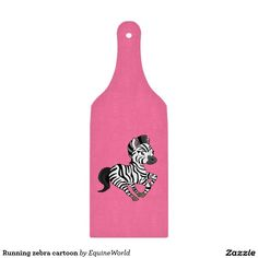 Running zebra cartoon cutting boards