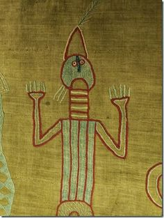 Detail of embroidery on a chief's robe in the British Museum.