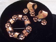 Renoir Set Vintage RENOIR Copper Pin Earrings Set by TheCopperCat