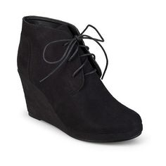 Women's Journee Collection Faux Suede Wedge Booties - Black ($50) ❤ liked on Polyvore featuring shoes, boots, black, wedges shoes, black oxfords, lace up boots, black oxford shoes and target boots