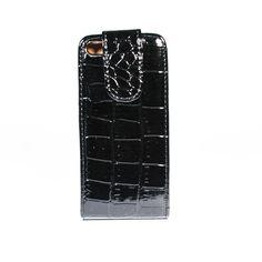 Leren Iphone 5 flip cover Croco print zwart