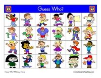 Guess Who Game: Printable Guess Who matching game. Includes 2 game boards, 24 playing cards, 40 game pieces, and directions.
