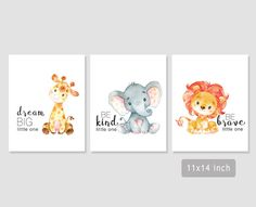 Sweet safari nursery set of printable wall art! Dream big little one giraffe, be kind little one elephant and be brave little one lion print to display in a nursery. A gender neutral print. Four sizes are included so you can decide which you prefer. I have the same set available without little one as part of the saying if you prefer that: https://www.etsy.com/ca/listing/467832258/safari-nursery-print-giraffe-dream-big This listing is for an INSTANT DOWNLOAD for...