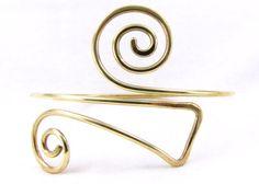 Laiton brassard bras brassard spirale laiton manchette par Cuprum29, $20.00