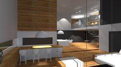 Projekt domu jednorodzinnego - salon oraz wine bar