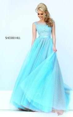 Light Blue Sherri Hill 11230 Polka Dot Evening Gown
