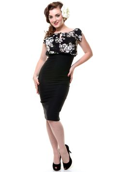 1940's Style STOP STARING Black Floral Fitted Maria Wiggle Dress - Unique Vintage - Homecoming Dresses, Pinup & Prom Dresses.