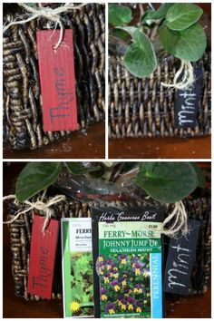 Indoor herb planter box with wooden tags #howto #diy #gardencrafts