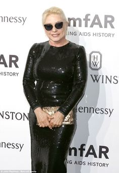 Icon: Blondie singer Debbie Harry looked glamorous in sequins and rock star sunglasses...