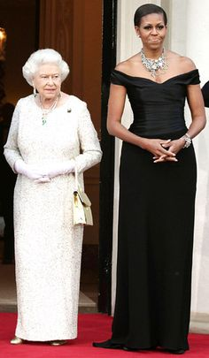 Michelle Obama wowed in a black Ralph Lauren gown and statement necklace at a dinner for the Queen at Winfield House, the U.S. Ambassador's residence in May 2011. Michelle Obama's Style Pictures - Ralph Lauren - UsMagazine.com