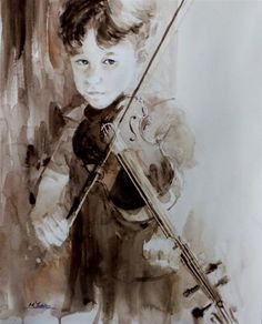 "Daily+Paintworks+-+""Kubi+with+his+violin""+-+Original+Fine+Art+for+Sale+-+©+Midori+Yoshino"