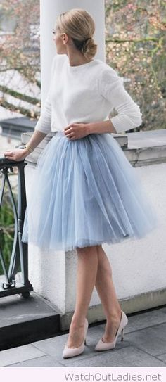 Light blue tulle skirt and a white sweater