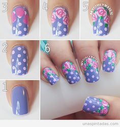 Purple polka-dot and rose nails. Pedicure Nail Art, Gel Nail Art, Nail Art Diy, Manicure, Happy Nails, Fun Nails, Nail Art Designs, Nail Polish Designs, Rose Nails