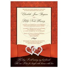 Romantic wedding invitation in orange, ivory and brown with ribbon