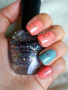 Speckled eggs-inspired nails for Easter! | Hazard by Sinful Colors | Toad-ally Amazing by Spoiled | Tazmanian Devil by Confetti