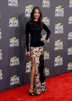 Zoe Saldana wearing Givenchy Fall '13 with Jimmy Choo shoes and jewelry by Emily Faith & Graziela Gems. Styled by Petra Flannery