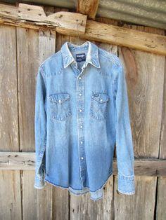 d2110dd248 Vintage Distressed Wrangler s Cowboy Denim Shirt