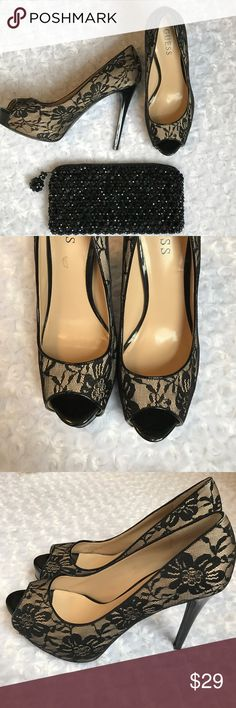 "GUESS BLACK NUDE LACE PEEP TOE HEELS Nude shoe with black floral lace overlay. Peep toe. Wear these to your next dressy affair. We all have them! Pair these with your lbd. 4.5"" heel 1"" platform. -No trades NWOT Guess Shoes"